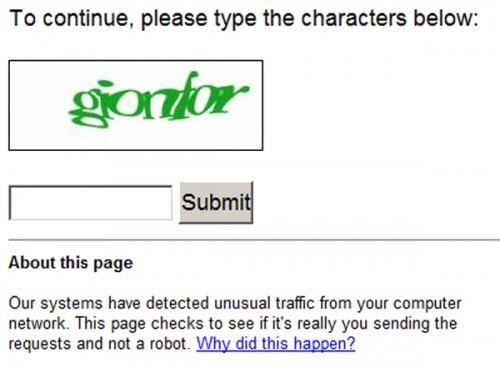 google og VPN captcha