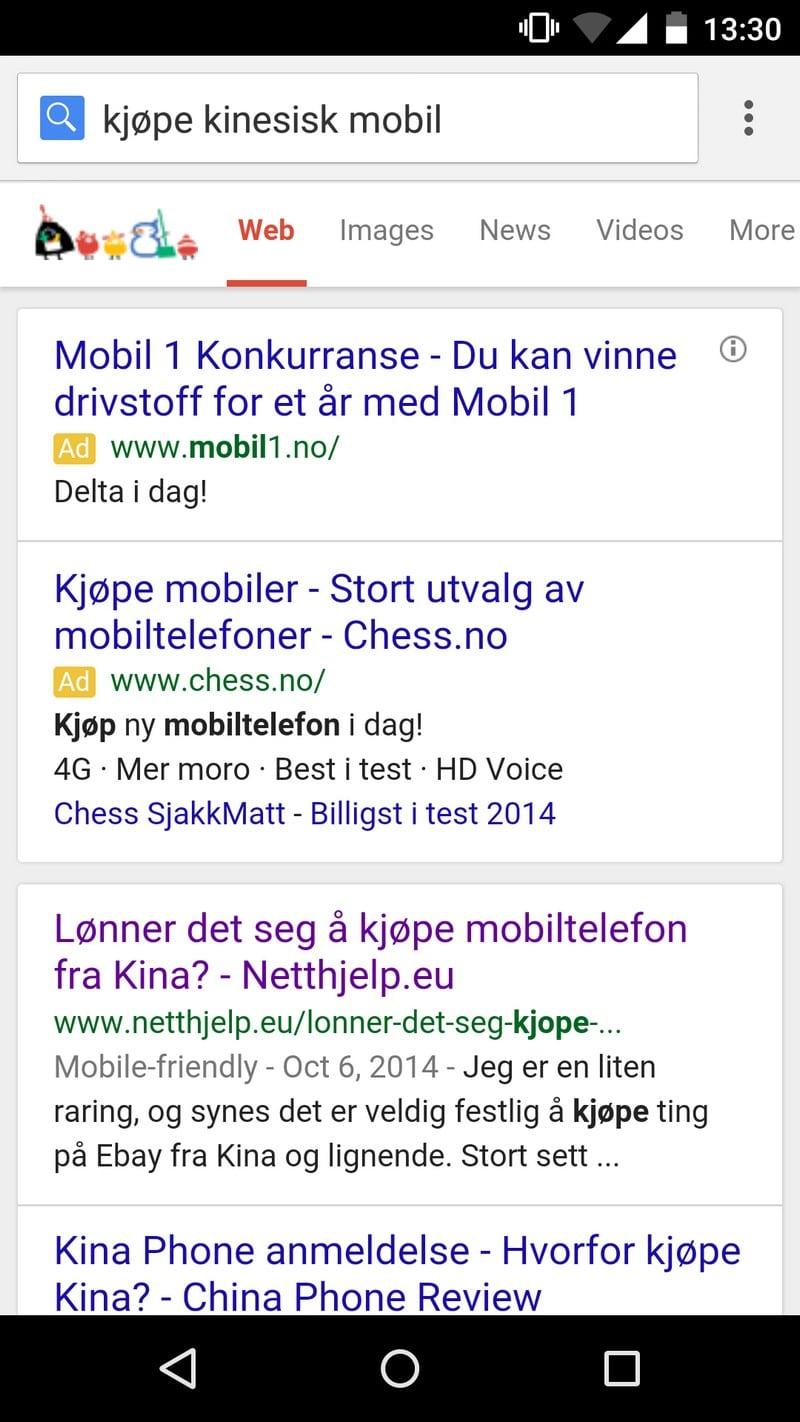 Mobilvennlige sider i Google