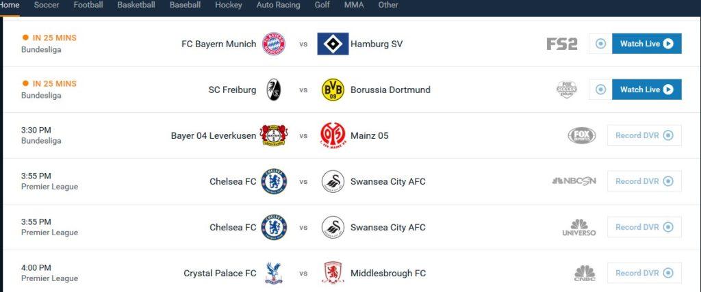 En vanlig dag med litt av hvert av fotball tilgjengelig på Fubo TV
