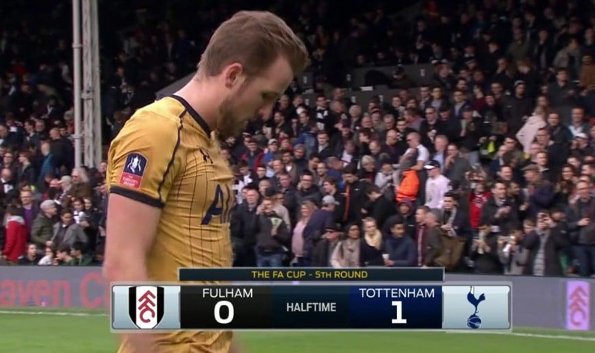 Her går Harry Kane til pause under en FA Cup kamp mot Fulham som jeg ser på Fubo TV