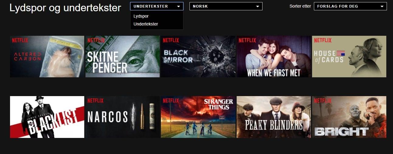 Se på innhold med norske lydsport og undertekster på Netflix