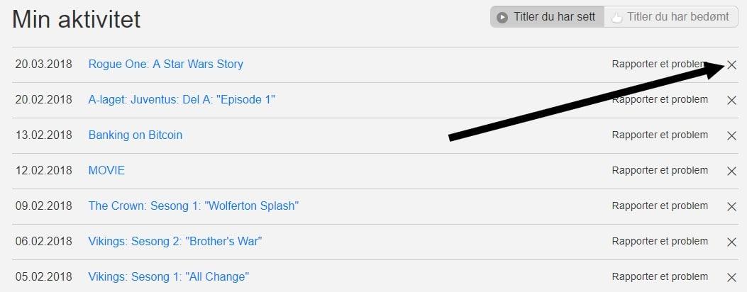 Trykk på X ved siden av innholdet du vil slette fra din Netflix historikk